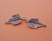 silver grape leaf charms, sterling silver, leaf casting, handmade supplies LC008-2