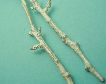 silver cast twig, raw sterling silver, metal twig finding, earring component, silversmith supplies  UT003-2
