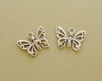 butterfly charms earring findings sterling silver charms for jewerly making C102-2