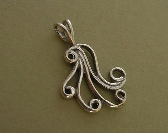 filigree curlicue pendant charm sterling silver pendant charm C104-1
