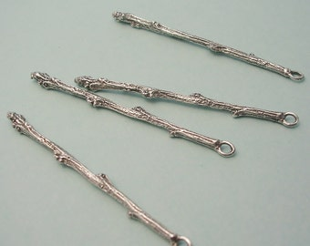 earring finding cast silver twig FT006-4