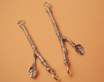 sterling silver leaf and twig connectors finding FT009-2