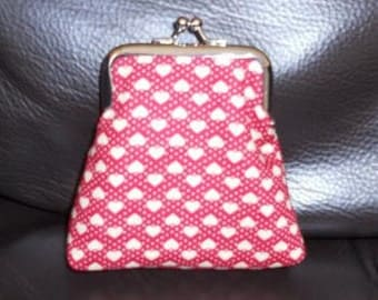 Cute Double Sided Valentines Love Hearts and Spotted Spots Red Beige Reversed Inside Cotton Clasp Coin Purse on Silver Frame