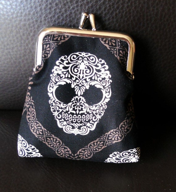 LAST ONE Black & White Gothic Skull Damask Michael Miller Cotton on Silver Frame Coin Purse Rock Emo Voodoo Style