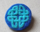 Needlefelted Brooch, Felted, Celtic Knotwork, Blue, Circular, Scottish.