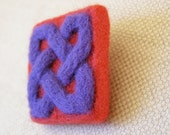 Felt Brooch,Square, Celtic Knot, Red & Purple, Needlefelted.