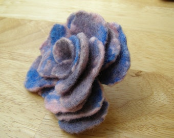 Felted Flower Brooch, Blue & Pink Rose