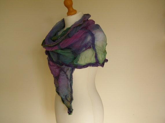 Watercolour Silk Nuno Felted Wrap Hand Dyed Purple Green & Blue shawl scarf