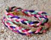 Multicolor Satin Cord Bracelet - Plaited, wrapped bracelet