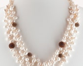 White Fresh Water Pearl Necklace Mix with a Crystal Pave Balls