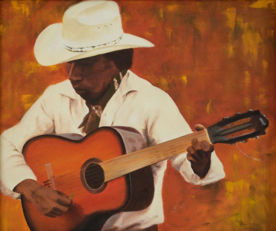 Original Oil Painting - 20 x 24 inches- fine art canvas Southwestern decor Mexican cowboy orange Tarahumara guitar player musician