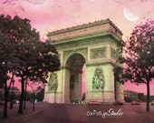 """Pink Sky """"Arc de Triomphe"""" , Moon, Paris, French Landscape  8x10 Photography Art  Print"""