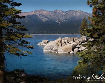 "Lake Tahoe Landscape Photography High Sierras  Pine Trees  Photography ""Lake Tahoe View"" Mountains Blue Water Boulders Pine Trees Any Size"