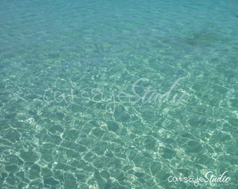 "Caribbean Ocean Water Landscape, Bahamas, Aqua, Turquoise Water, Seacape -"" Crystal Waters"" Photograph"