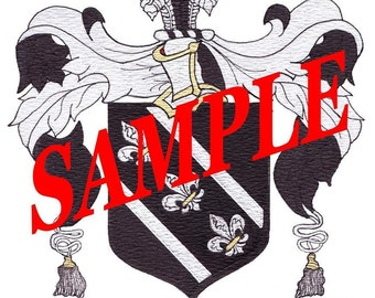 """Family Surname Heraldry - Coat of Arms Painting in Watercolor and Ink  8"""" x 10"""""""
