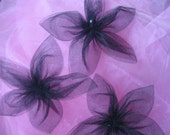 5-Petal Black Tulle Flowers