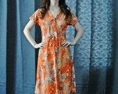 70s Orange Floral Print Dress