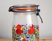 Niveau de Remplissage Floral French Canning Jar - 1L