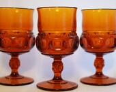 Stunning Amber Glass Goblets