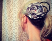 Silver Fabric Flower Hair Clip Fascinator with Red Embellishments and Black Feathers