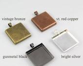 50 Pendant Bezel Trays 25mm - 60% Off Slightly Imperfect - Square