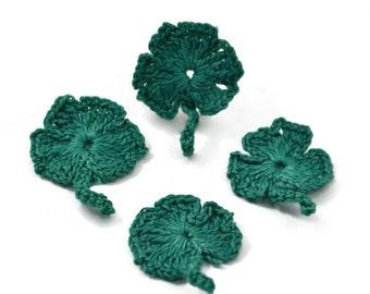 St. Patrick's Crochet Shamrock Applique Embellishment Pkg/5