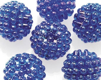Basketball Wives Jewelry Resin Ball Bead Sapphire Blue 16mm Pkg/10