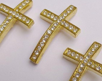 10 Rhinestone Sideways Cross Connectors Links Gold Crystal 50mm x17mm - 10 rhinestone cross connectors or links