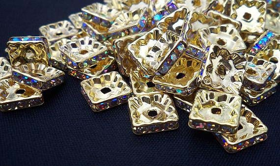 Square Gold Rhinestone Rondelle Spacer in AB Crystal 10mm 25 pcs
