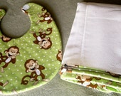 Monkey Business Bib and Burp Cloth Set