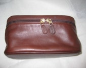 Brown Vintage Leather Coach Toiletry Bag