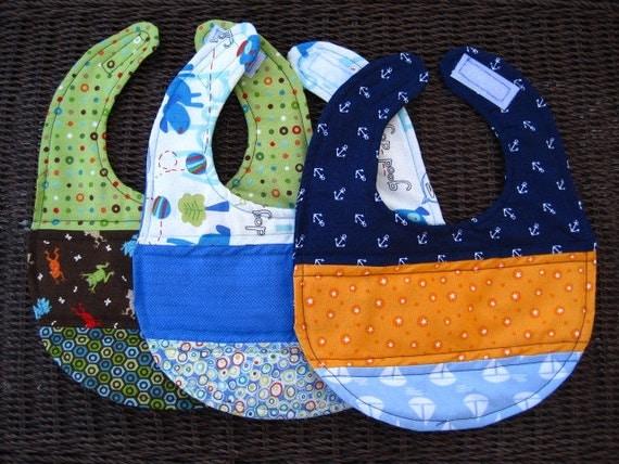 Set of 3 Handmade Baby Boy Bibs