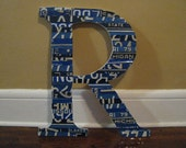 Large Wood Letters- license plate art-made to order-large mosaic letters- nursery decor-vintage decor-license plates- large wood letters