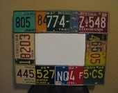 Dry Erase Board made with VINTAGE license plates- great for office-mancave-garage-classroom