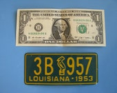 Mini Louisiana license plate refrigerator or toolbox magnet- made from real vintage promotional license plate 1953 - pick your state