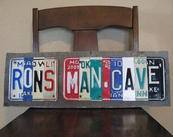 License Plate Sign -Made To Order- Man cave sign - Father's Day  -  Vintage License Plates- License Plate Decor- Garage sign Decor
