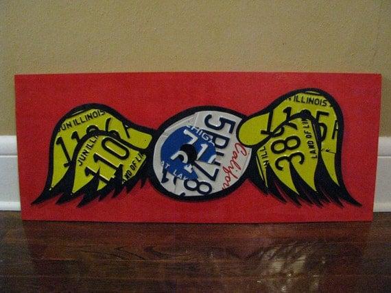 Von Dutch Sign- flying eyeball Custom License Plate Garage Sign-hand cut from license plates