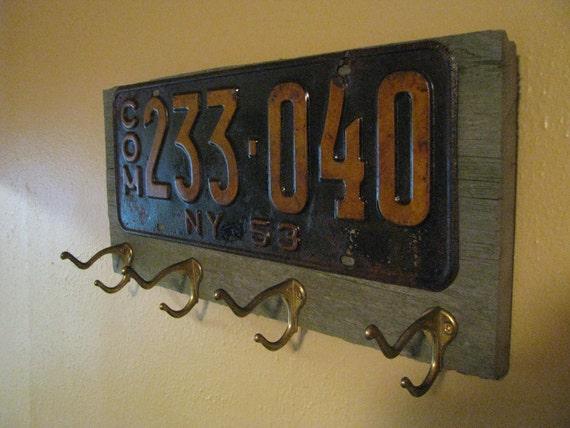 Vintage coat rack made with a real vintage license plate-barnwood- and vintage brass hooks- NEW YORK