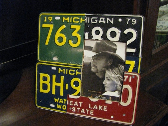5x7 License Plate Picture Frame - FATHERS DAY-Made From Real Vintage License Plates - Hand Cut - Man cave