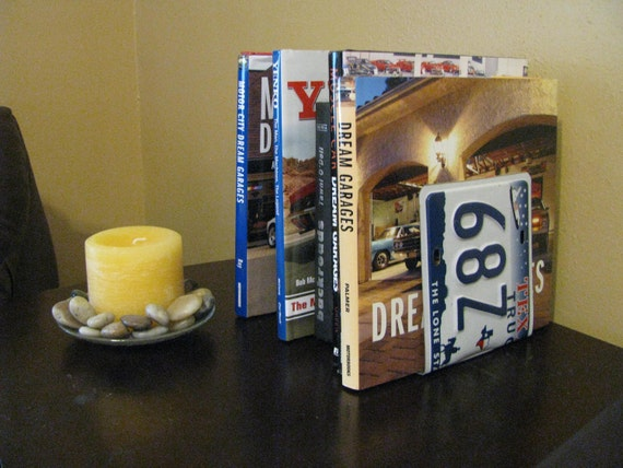 TEXAS LICENSE PLATE Bookends- Perfect for an Office - Mancave - Den.....many states available