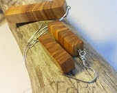 Wooden earrings and necklace with wooden pendant