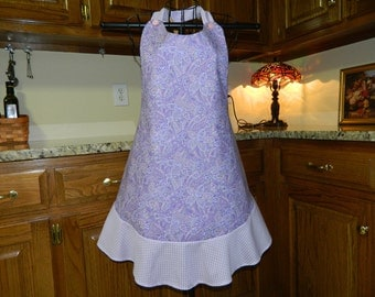 Ladies Full Apron,Lavendar, Paisley Apron, Woman's full Apron / Retro Style / Full Designer Kitchen Apron