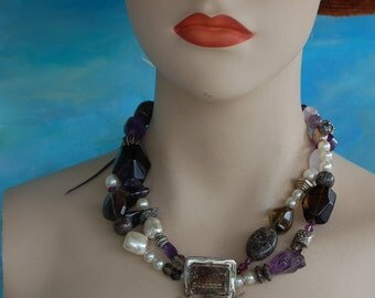 One Of A Kind Amethyst , Pearl And  Topaz Necklace