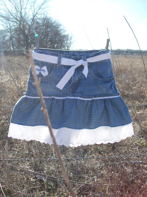 Eyelet and blue upcycled size 5 ruffle skirt