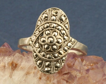 Vintage Art Deco 800 Silver Marcasite Ring