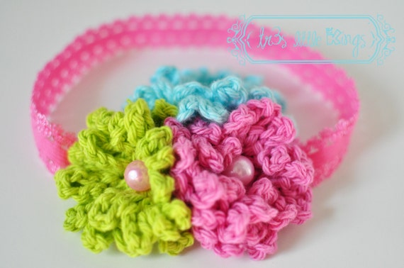 Girl Elastic Headband Crochet Flower Cluster  - Pink, Lime Green and Turquoise.