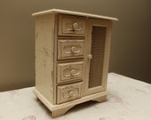 Upcycled Gated Cream, Ivory, Musical Jewelry Box, Armoire, Distressed, Shabby Chic