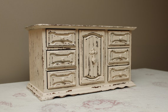 Heavily Distressed Musical Jewelry Box with drawers