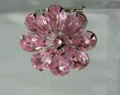 Vintage Pink Rhinestone Brooch Costume Jewelry