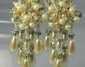 Vintage Waterfall Earrings tear drop pearl and rhinestones Bride/Wedding